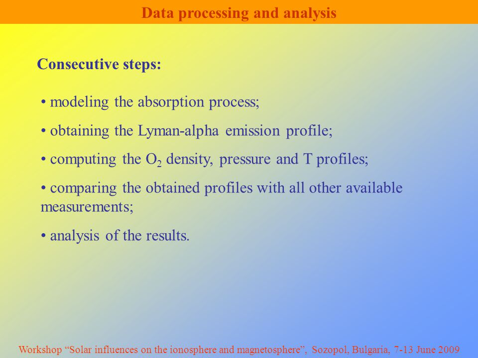 Data processing and analysis modeling the absorption process; obtaining the Lyman-alpha emission profile; computing the O 2 density, pressure and T profiles; comparing the obtained profiles with all other available measurements; analysis of the results.