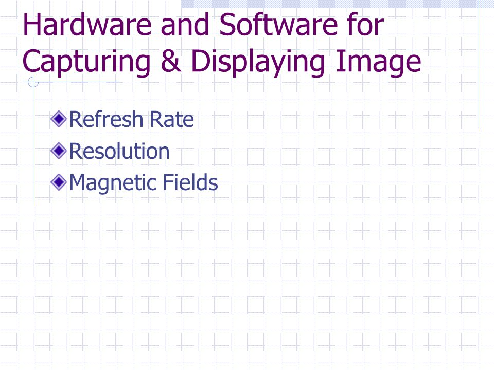 Hardware and Software for Capturing & Displaying Image Refresh Rate Resolution Magnetic Fields