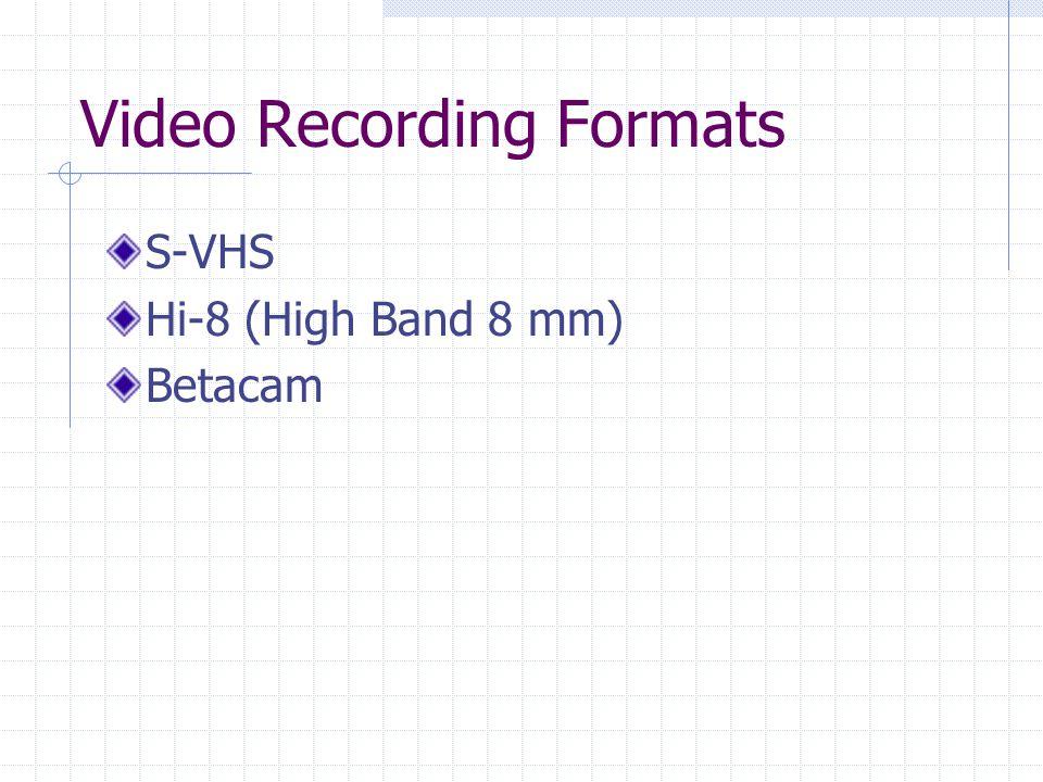 Video Recording Formats S-VHS Hi-8 (High Band 8 mm) Betacam