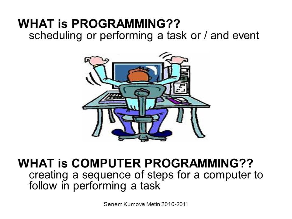 Senem Kumova Metin 2010-2011 WHAT is PROGRAMMING .