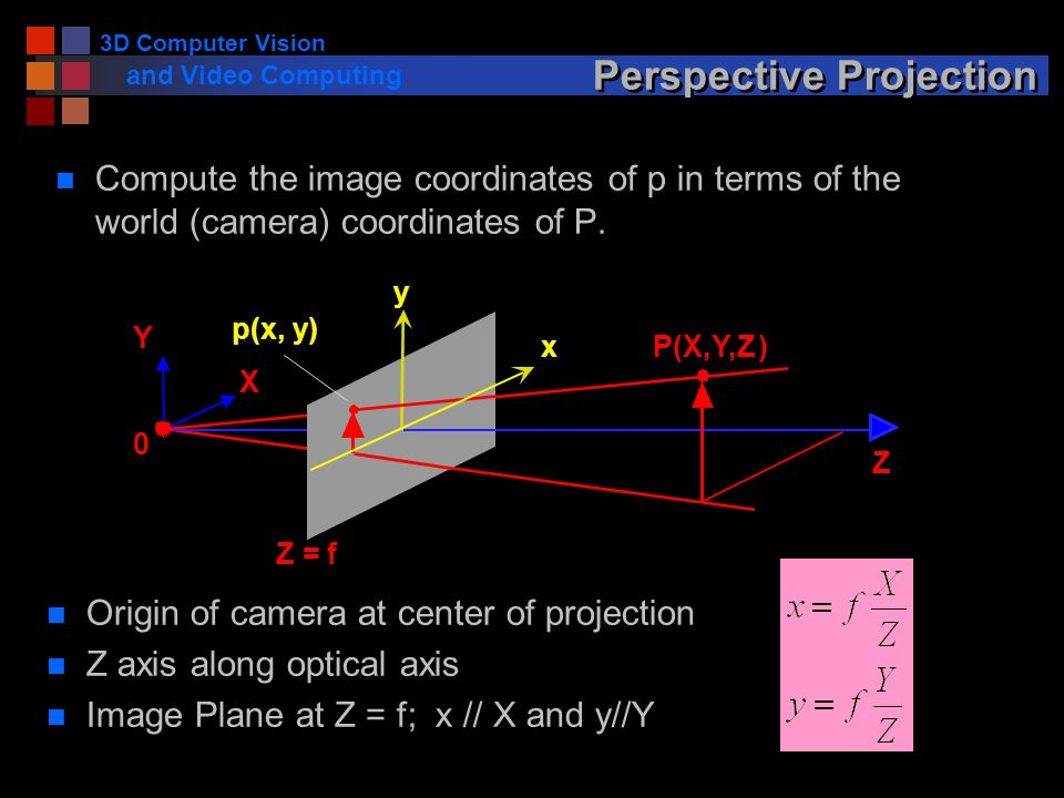 3D Computer Vision and Video Computing Perspective Projection n Compute the image coordinates of p in terms of the world (camera) coordinates of P.