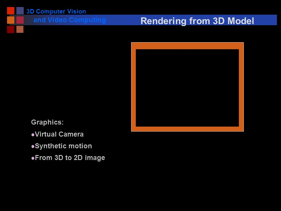 3D Computer Vision and Video Computing Rendering from 3D Model Graphics: Virtual Camera l Synthetic motion l From 3D to 2D image
