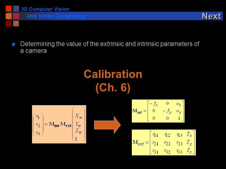 3D Computer Vision and Video Computing Next n Determining the value of the extrinsic and intrinsic parameters of a camera Calibration (Ch.