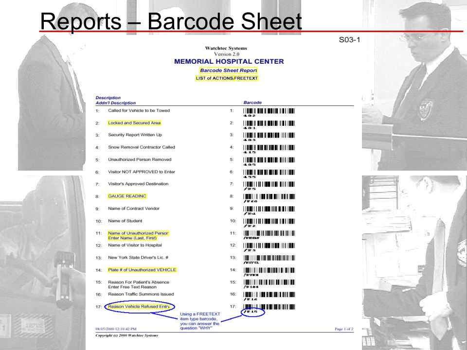 Reports – Barcode Sheet