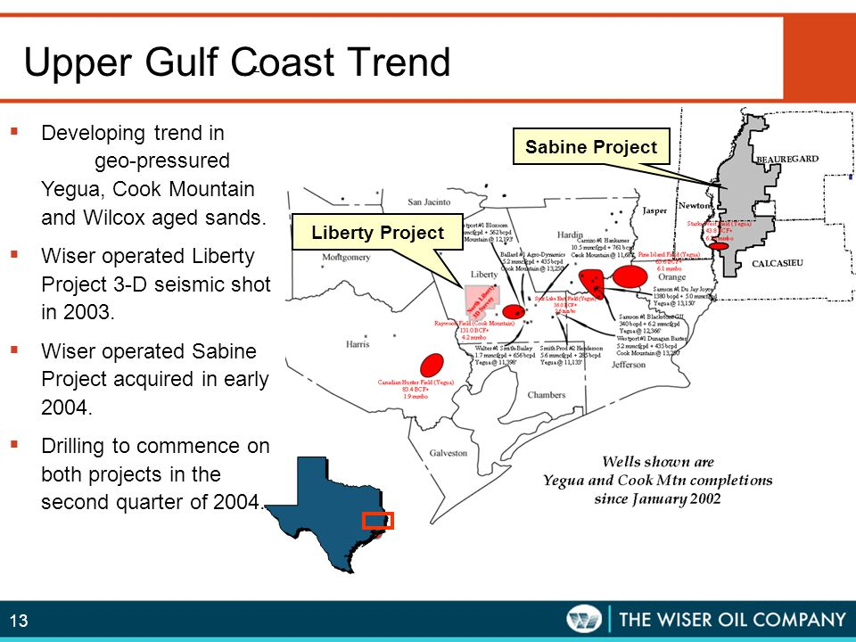 13 Upper Gulf Coast Trend  Developing trend in geo-pressured Yegua, Cook Mountain and Wilcox aged sands.  Wiser operated Liberty Project 3-D seismic