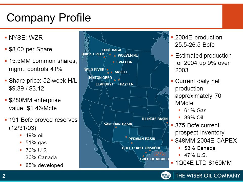 2 Company Profile  NYSE: WZR  $8.00 per Share  15.5MM common shares, mgmt. controls 41%  Share price: 52-week H/L $9.39 / $3.12  $280MM enterpris