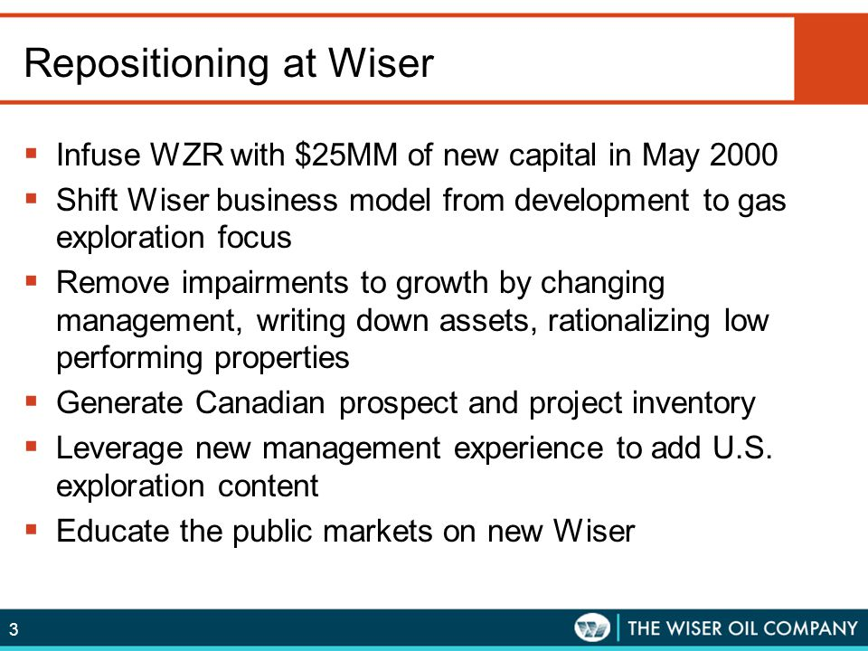 3 Repositioning at Wiser  Infuse WZR with $25MM of new capital in May 2000  Shift Wiser business model from development to gas exploration focus  R