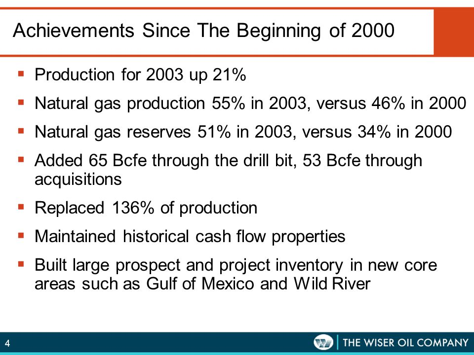 4 Achievements Since The Beginning of 2000  Production for 2003 up 21%  Natural gas production 55% in 2003, versus 46% in 2000  Natural gas reserve