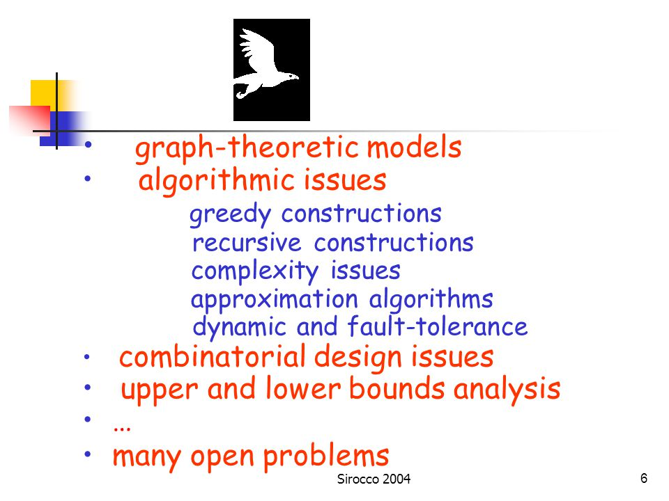 Sirocco 20046 graph-theoretic models algorithmic issues greedy constructions recursive constructions complexity issues approximation algorithms dynamic and fault-tolerance combinatorial design issues upper and lower bounds analysis … many open problems