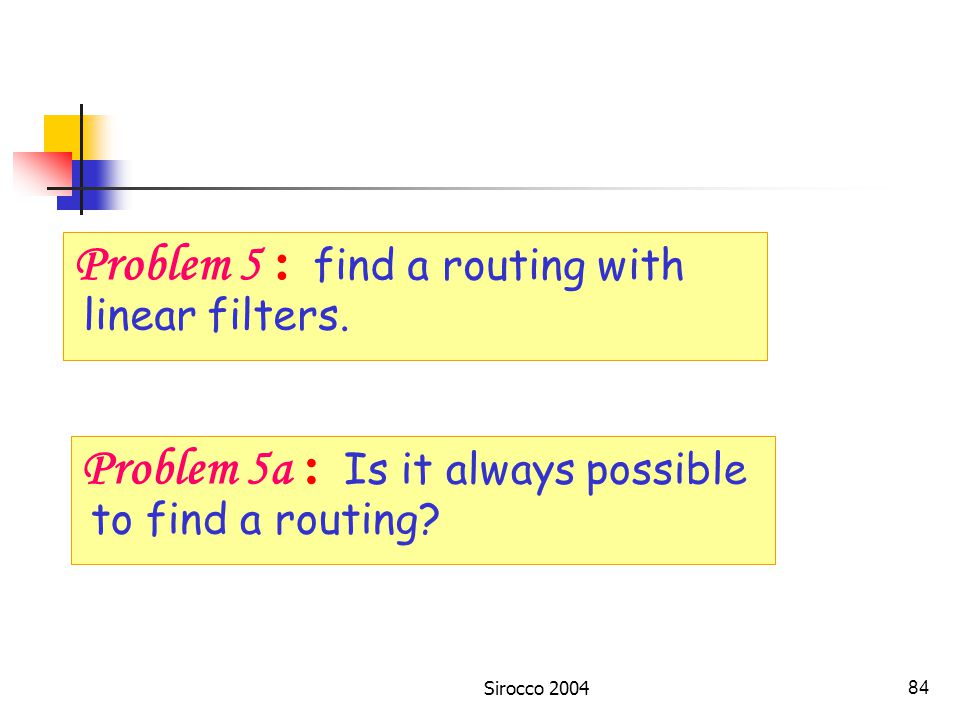 Sirocco 200483 One-band routers: DEMUX Received Forwarded Problem 5 : find a routing with linear filters.