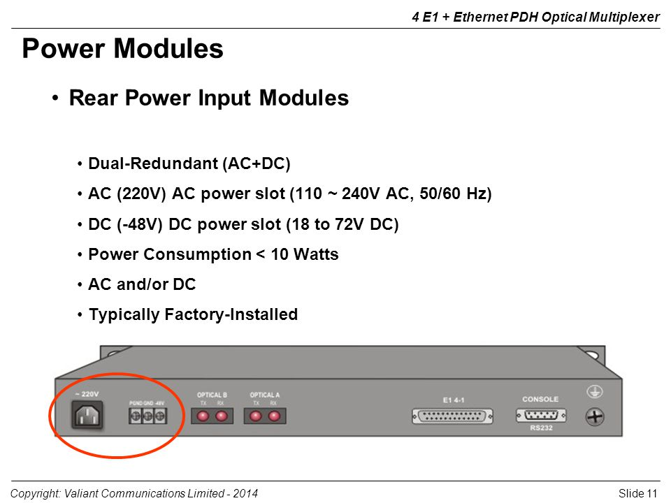 Slide 11Copyright: Valiant Communications Limited E1 + Ethernet PDH Optical Multiplexer Rear Power Input Modules Dual-Redundant (AC+DC) AC (220V) AC power slot (110 ~ 240V AC, 50/60 Hz) DC (-48V) DC power slot (18 to 72V DC) Power Consumption < 10 Watts AC and/or DC Typically Factory-Installed Power Modules