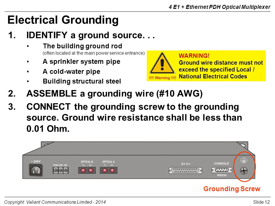 Slide 12Copyright: Valiant Communications Limited E1 + Ethernet PDH Optical Multiplexer 1.IDENTIFY a ground source...