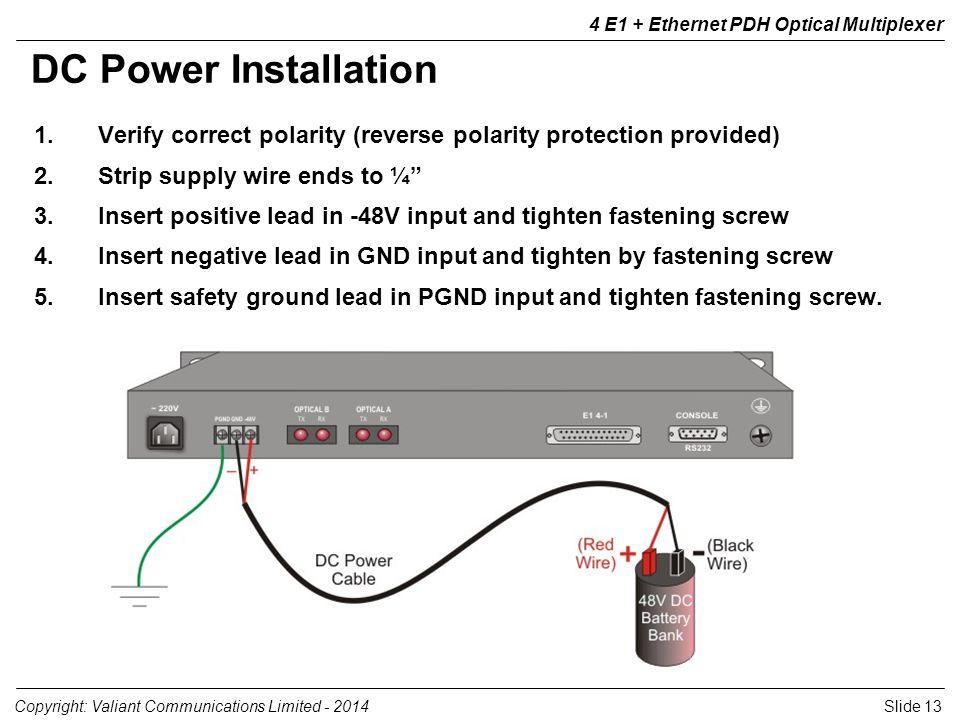 Slide 13Copyright: Valiant Communications Limited - 2014 4 E1 + Ethernet PDH Optical Multiplexer 1.Verify correct polarity (reverse polarity protectio