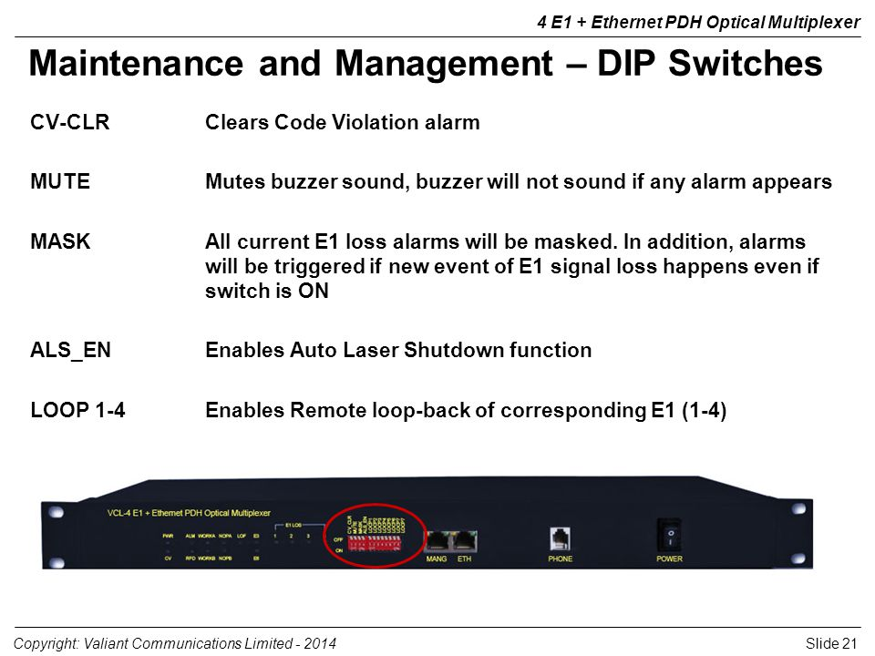 Slide 21Copyright: Valiant Communications Limited - 2014 4 E1 + Ethernet PDH Optical Multiplexer Maintenance and Management – DIP Switches CV-CLRClears Code Violation alarm MUTEMutes buzzer sound, buzzer will not sound if any alarm appears MASKAll current E1 loss alarms will be masked.