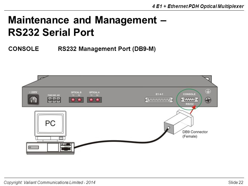 Slide 22Copyright: Valiant Communications Limited - 2014 4 E1 + Ethernet PDH Optical Multiplexer CONSOLERS232 Management Port (DB9-M) Maintenance and