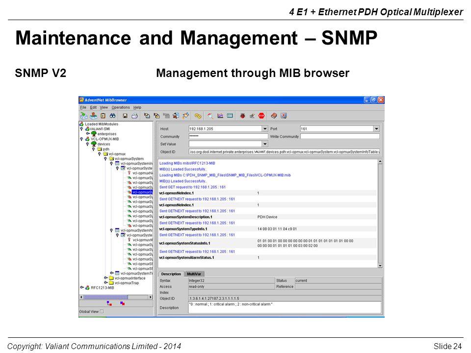 Slide 24Copyright: Valiant Communications Limited - 2014 4 E1 + Ethernet PDH Optical Multiplexer Maintenance and Management – SNMP SNMP V2Management t