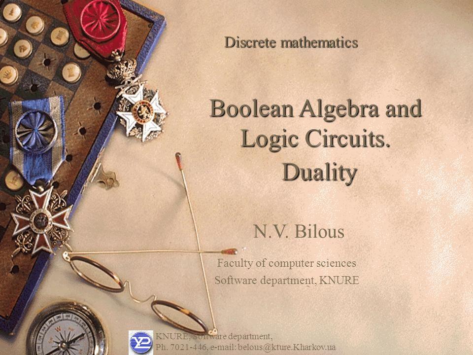KNURE, Software department, Ph.7021-446, e-mail: belous@kture.Kharkov.ua N.V.