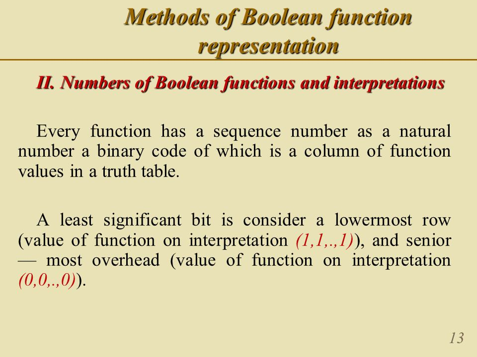 13 Methods of Boolean function representation II. Numbers of Boolean functions and interpretations Every function has a sequence number as a natural n