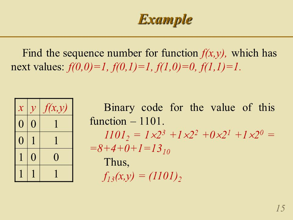 15Example Find the sequence number for function f(x,y), which has next values: f(0,0)=1, f(0,1)=1, f(1,0)=0, f(1,1)=1.
