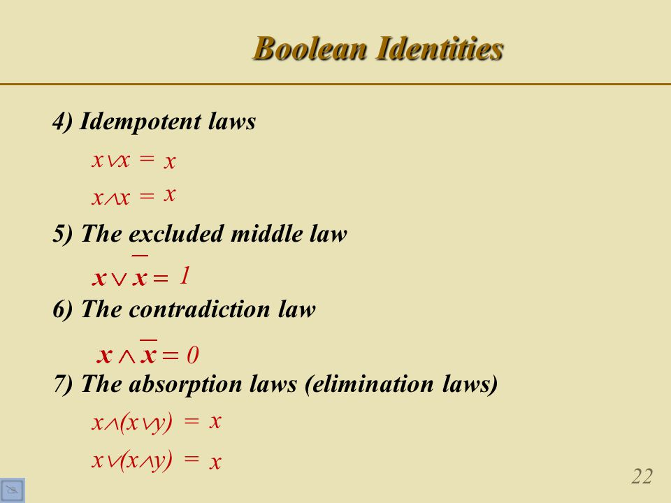 22 Boolean Identities 4) Idempotent laws x  x = x  x = 5) The excluded middle law 6) The contradiction law 7) The absorption laws (elimination laws) x  (x  y) = x  (x  y) = x x 1 0 x x