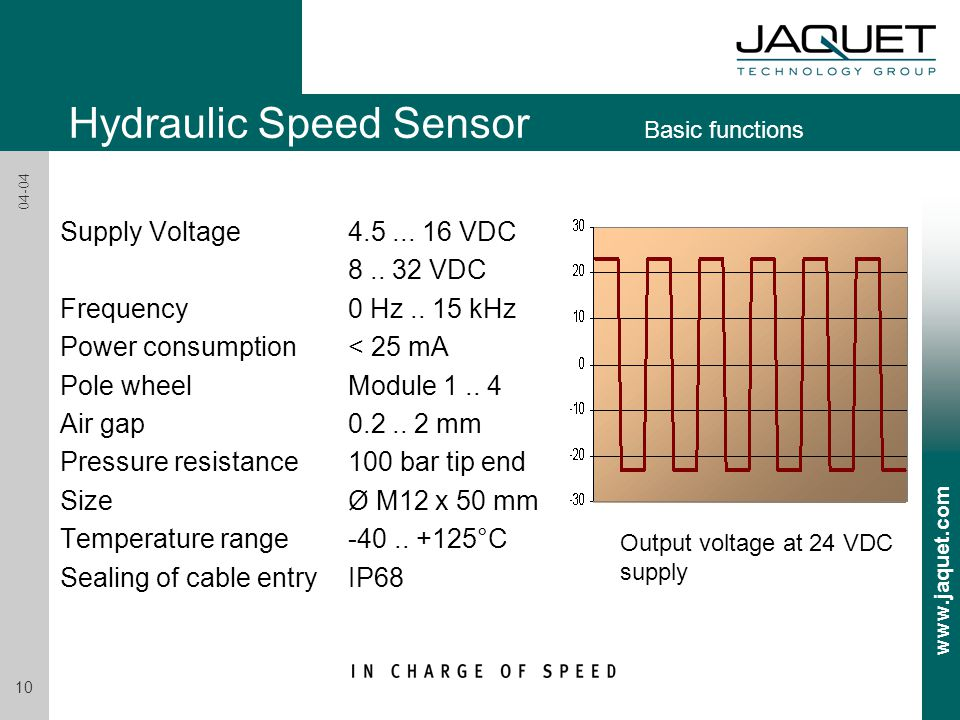 www.jaquet.com 10 04-04 Supply Voltage 4.5... 16 VDC 8.. 32 VDC Frequency 0 Hz.. 15 kHz Power consumption< 25 mA Pole wheelModule 1.. 4 Air gap 0.2..
