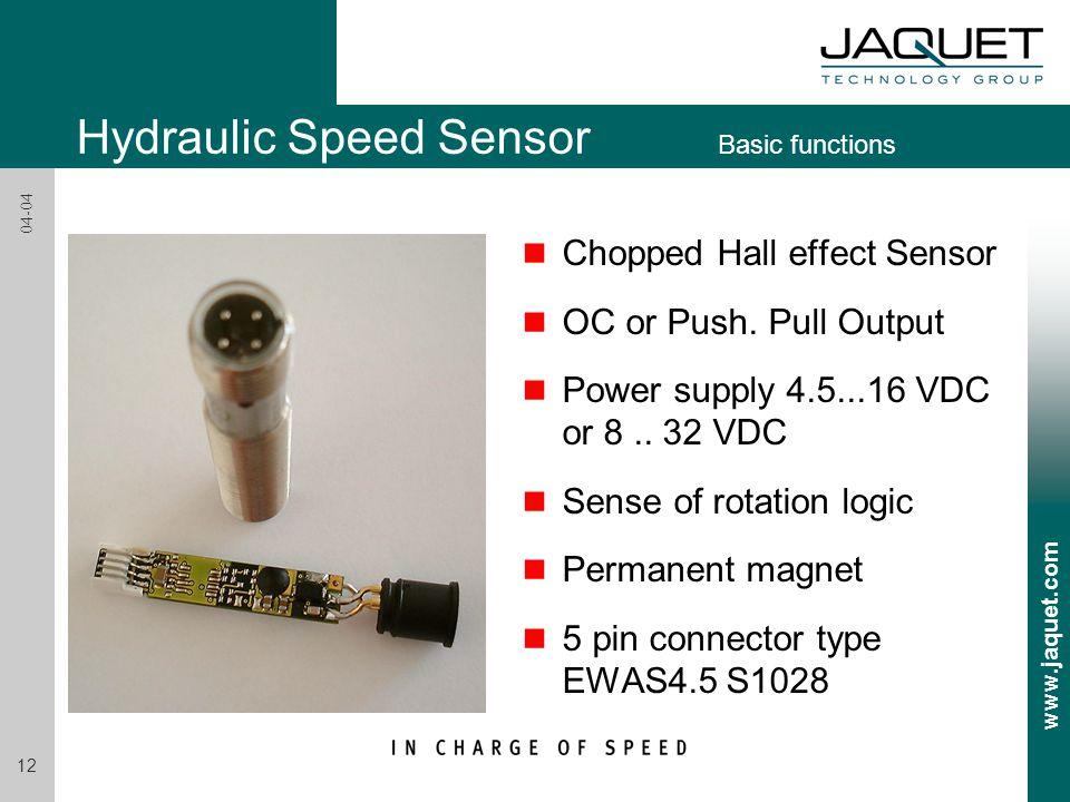 www.jaquet.com 12 04-04 n Chopped Hall effect Sensor n OC or Push. Pull Output n Power supply 4.5...16 VDC or 8.. 32 VDC n Sense of rotation logic n P