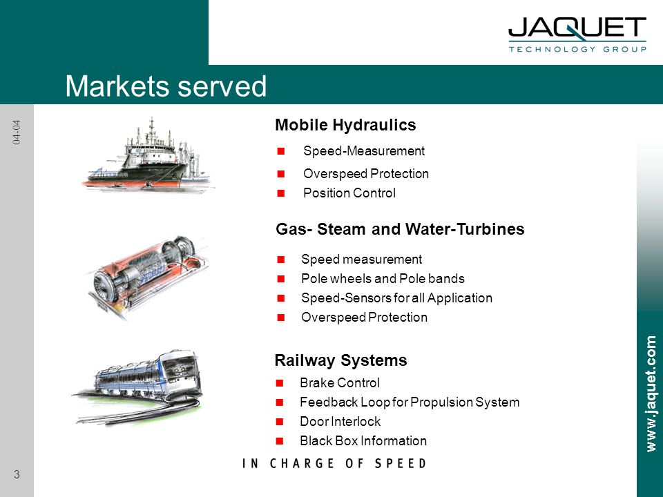 Mobile Hydraulics Gas- Steam and Water-Turbines n Speed-Measurement n Overspeed Protection n Position Control n Speed measurement n Pole wheels and Pole bands n Speed-Sensors for all Application n Overspeed Protection n Brake Control n Feedback Loop for Propulsion System n Door Interlock n Black Box Information Railway Systems Markets served