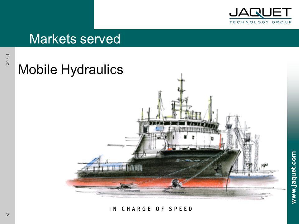 www.jaquet.com 5 04-04 Markets served Mobile Hydraulics