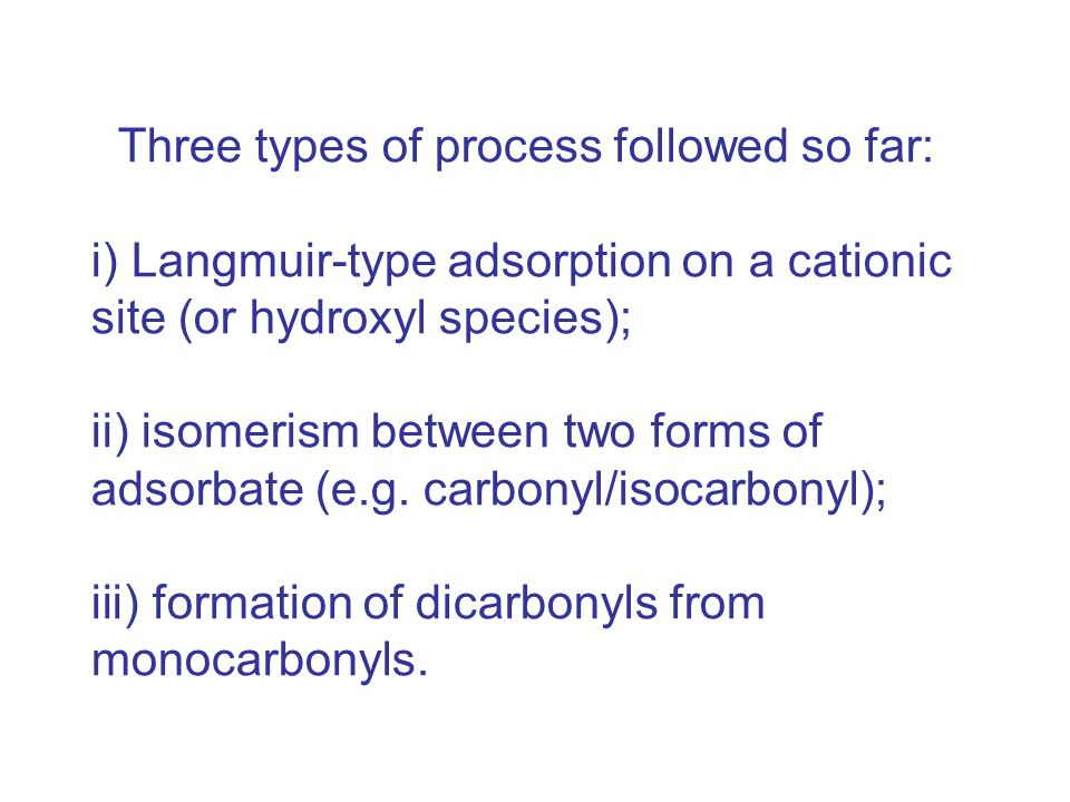 Three types of process followed so far: i) Langmuir-type adsorption on a cationic site (or hydroxyl species); ii) isomerism between two forms of adsorbate (e.g.