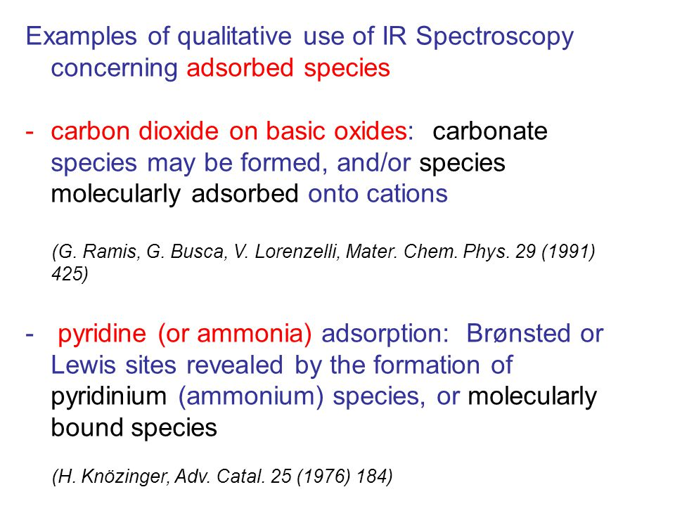 Examples of qualitative use of IR Spectroscopy concerning adsorbed species -carbon dioxide on basic oxides: carbonate species may be formed, and/or species molecularly adsorbed onto cations (G.
