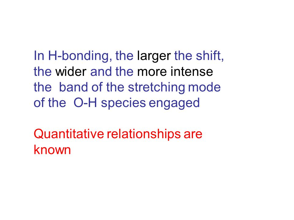 In H-bonding, the larger the shift, the wider and the more intense the band of the stretching mode of the O-H species engaged Quantitative relationships are known