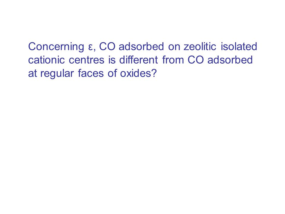 Concerning ε, CO adsorbed on zeolitic isolated cationic centres is different from CO adsorbed at regular faces of oxides