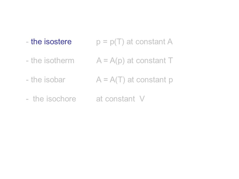 - the isostere p = p(T) at constant A - the isotherm A = A(p) at constant T - the isobar A = A(T) at constant p - the isochore at constant V