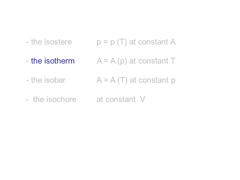 - the isostere p = p (T) at constant A - the isotherm A = A (p) at constant T - the isobar A = A (T) at constant p - the isochore at constant V