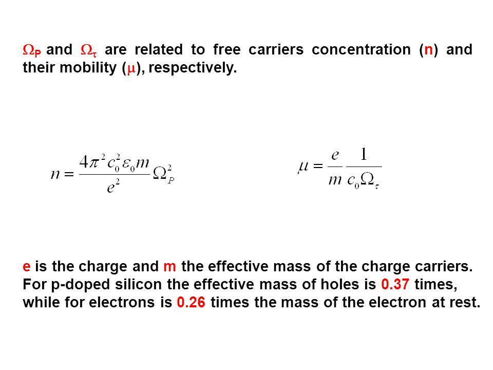  P and   are related to free carriers concentration (n) and their mobility (  ), respectively.