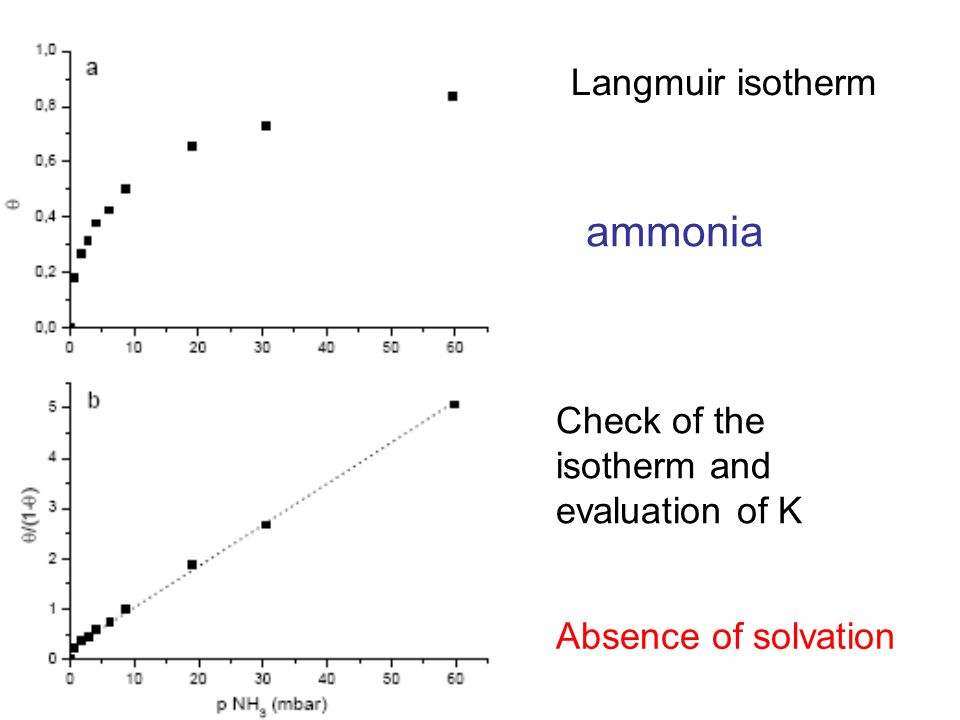 Langmuir isotherm Check of the isotherm and evaluation of K Absence of solvation ammonia