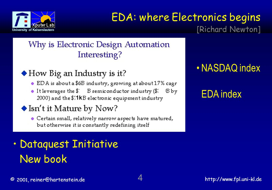 © 2001, reiner@hartenstein.de http://www.fpl.uni-kl.de University of Kaiserslautern 4 EDA: where Electronics begins [Richard Newton] 1k Dataquest Initiative New book NASDAQ index EDA index