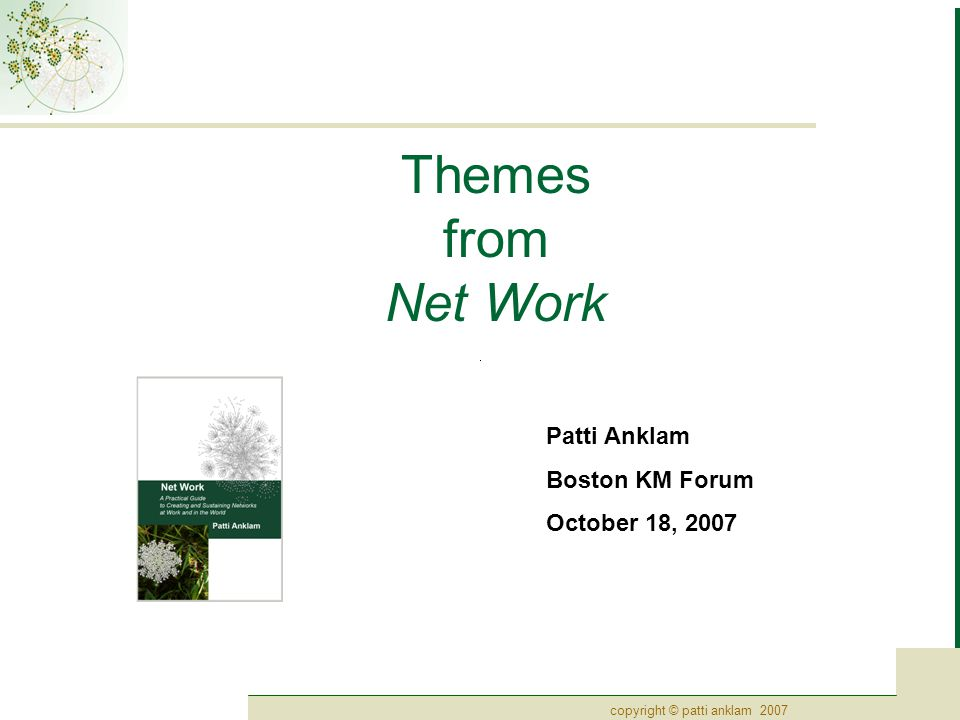 copyright © patti anklam 200722 Tools for examination: Complex sensemaking Sensemaking framework – Cynefin  Developed by Dave Snowden at IBM, now an open source framework maintained by Cognitive Edge PLC  View of the context of a problem or situation as revealed by anecdotes or stories Distinguishing among the nature and context of specific events, problems, or potential courses of actions makes it possible to select the appropriate method for moving forward.