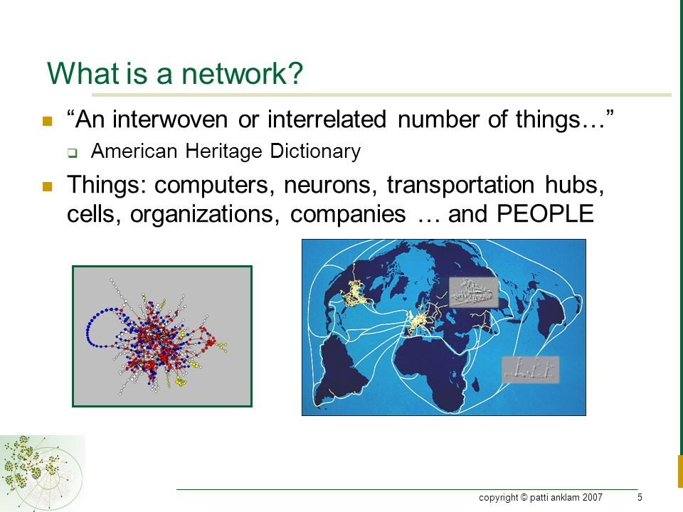 copyright © patti anklam 20075 What is a network.
