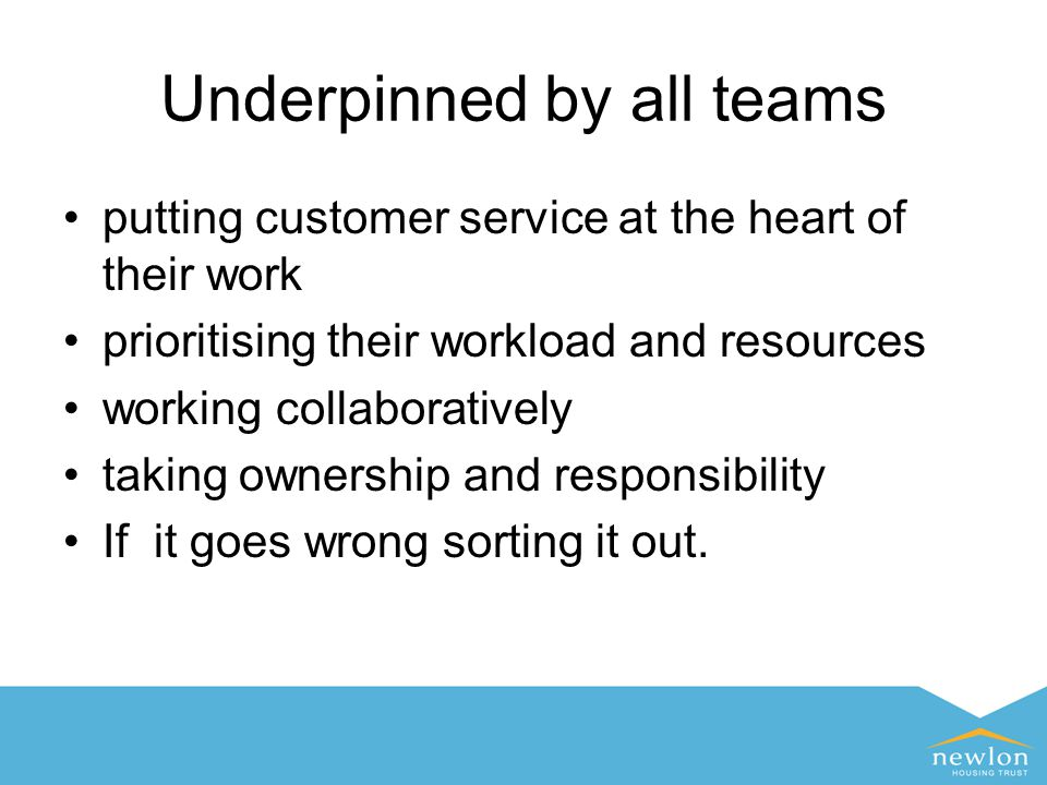 Underpinned by all teams putting customer service at the heart of their work prioritising their workload and resources working collaboratively taking ownership and responsibility If it goes wrong sorting it out.