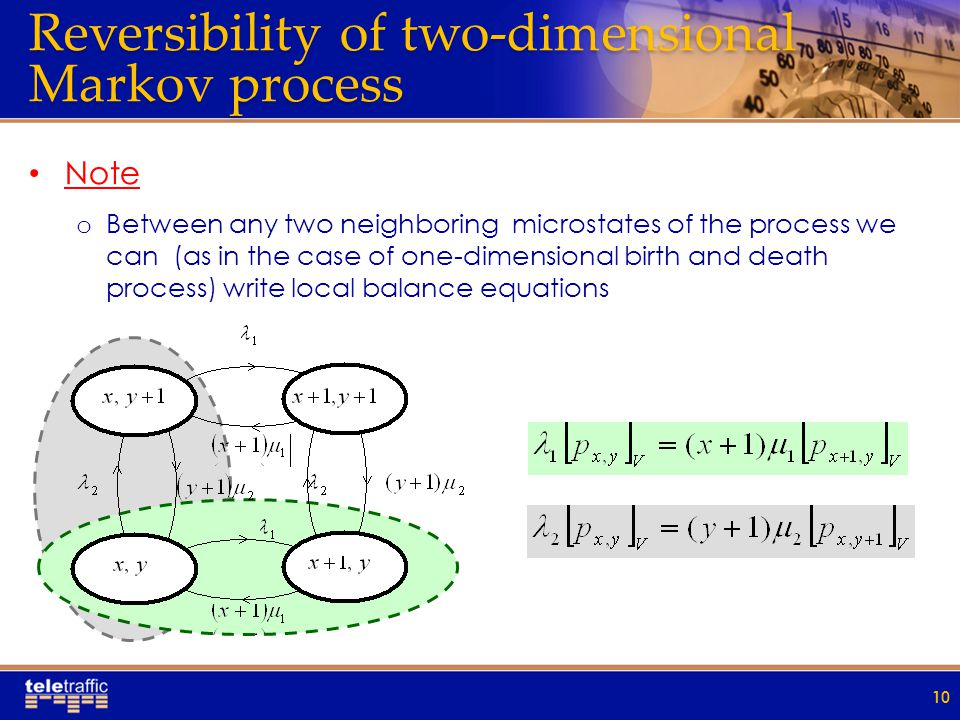 Reversibility of two-dimensional Markov process Note o Between any two neighboring microstates of the process we can (as in the case of one-dimensional birth and death process) write local balance equations 10