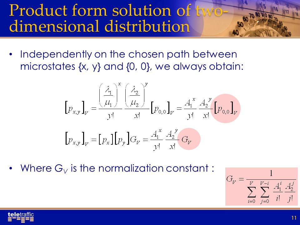Product form solution of two- dimensional distribution Independently on the chosen path between microstates {x, y} and {0, 0}, we always obtain: Where