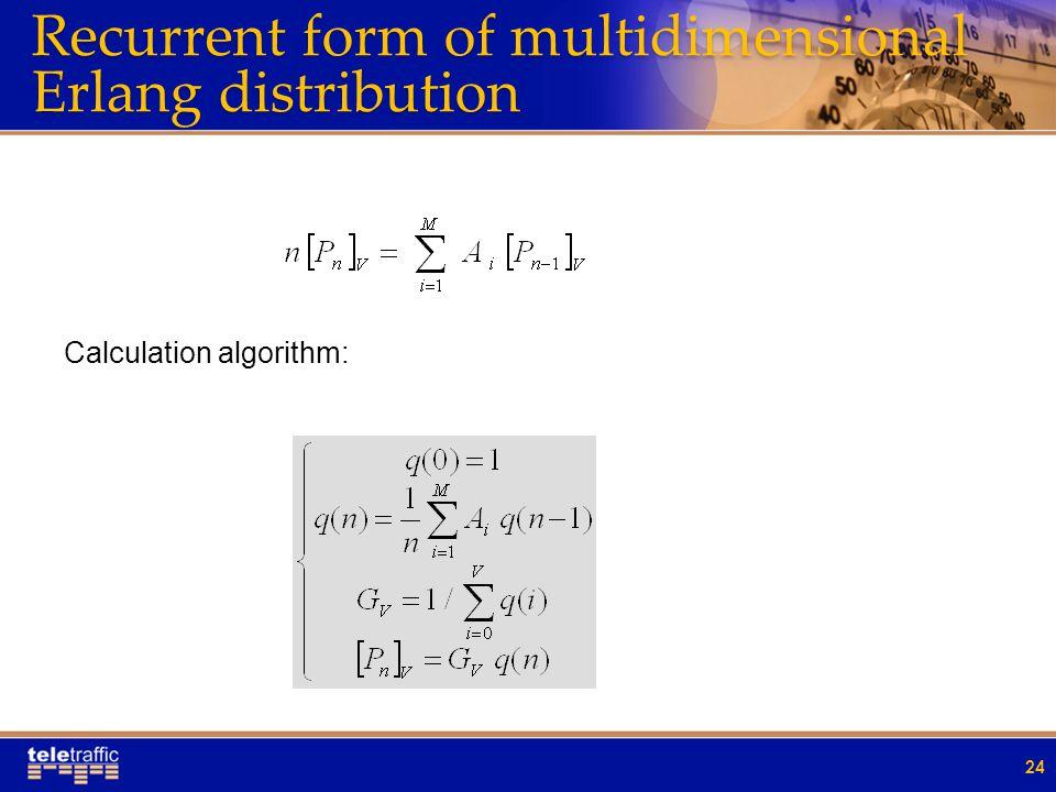 Recurrent form of multidimensional Erlang distribution 24 Calculation algorithm: