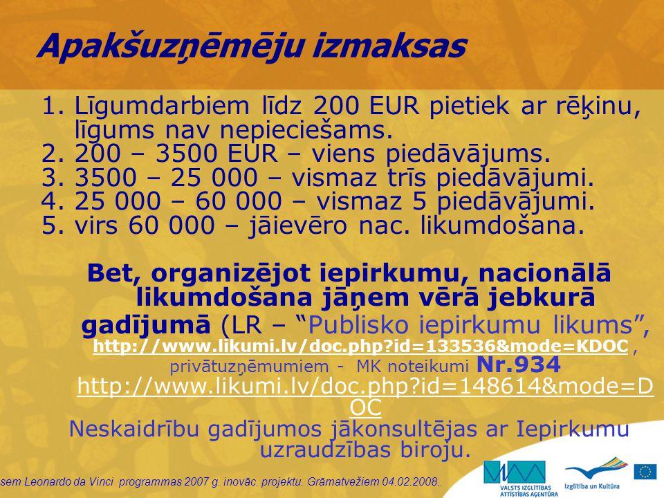 sem Leonardo da Vinci programmas 2007 g. inovāc. projektu. Grāmatvežiem 04.02.2008.. Apakšuzņēmēju izmaksas 1.Līgumdarbiem līdz 200 EUR pietiek ar rēķ