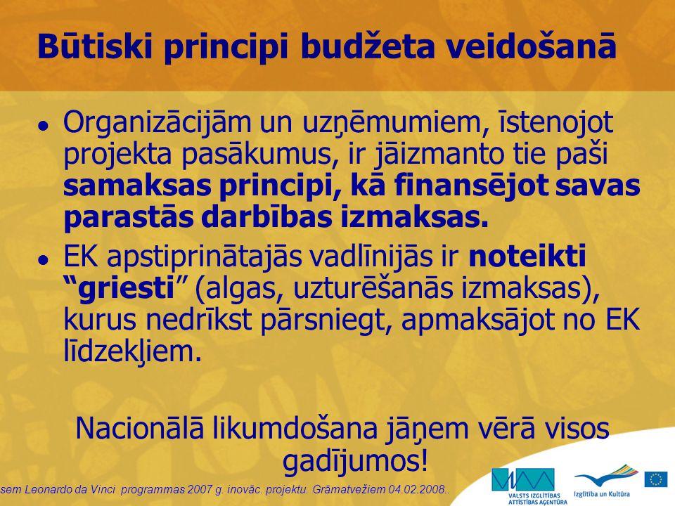 sem Leonardo da Vinci programmas 2007 g. inovāc. projektu. Grāmatvežiem 04.02.2008.. Būtiski principi budžeta veidošanā Organizācijām un uzņēmumiem, ī