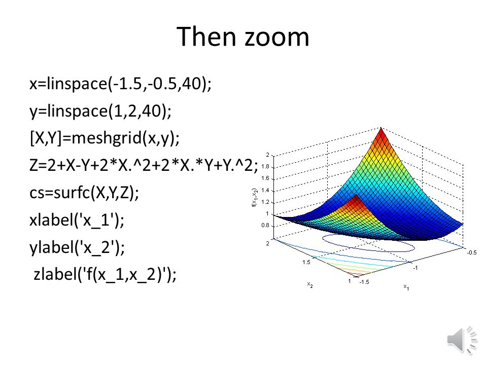 Can do mesh plot instead cs=surfc(X,Y,Z); xlabel( x_1 ); ylabel( x_2 ); zlabel( f(x_1,x_2) );