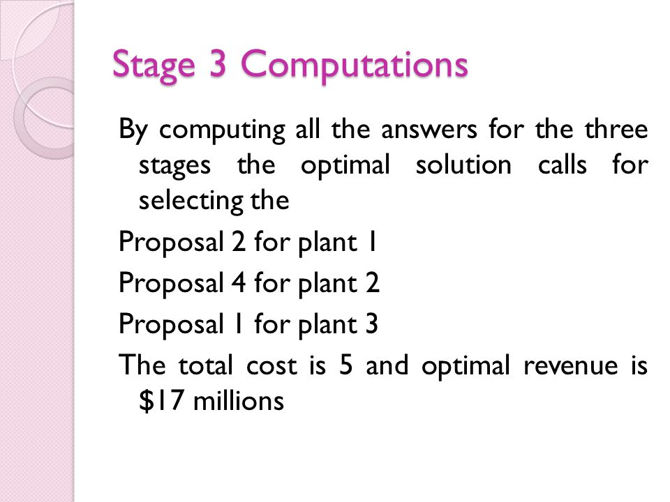 Stage 3 Computations By computing all the answers for the three stages the optimal solution calls for selecting the Proposal 2 for plant 1 Proposal 4 for plant 2 Proposal 1 for plant 3 The total cost is 5 and optimal revenue is $17 millions