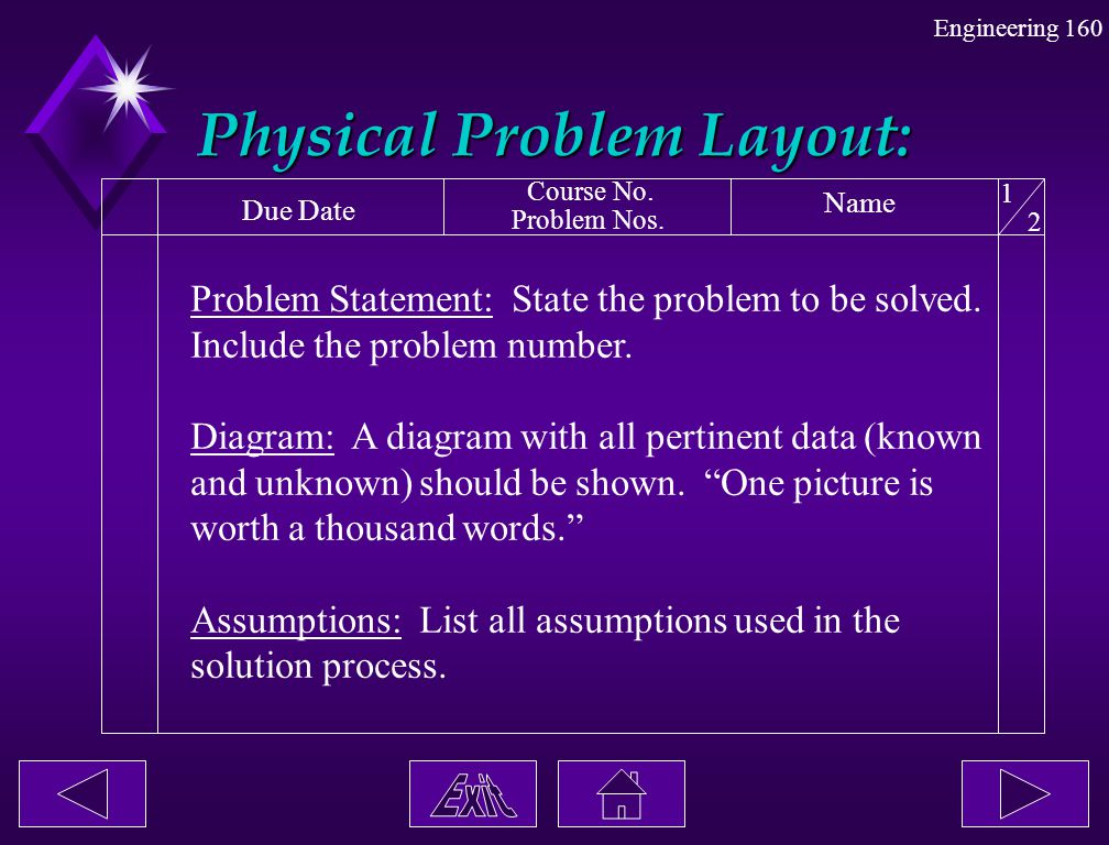 Engineering 160 Physical Problem Layout: Due Date Course No. Problem Nos. Name 1 2 Problem Statement: State the problem to be solved. Include the prob