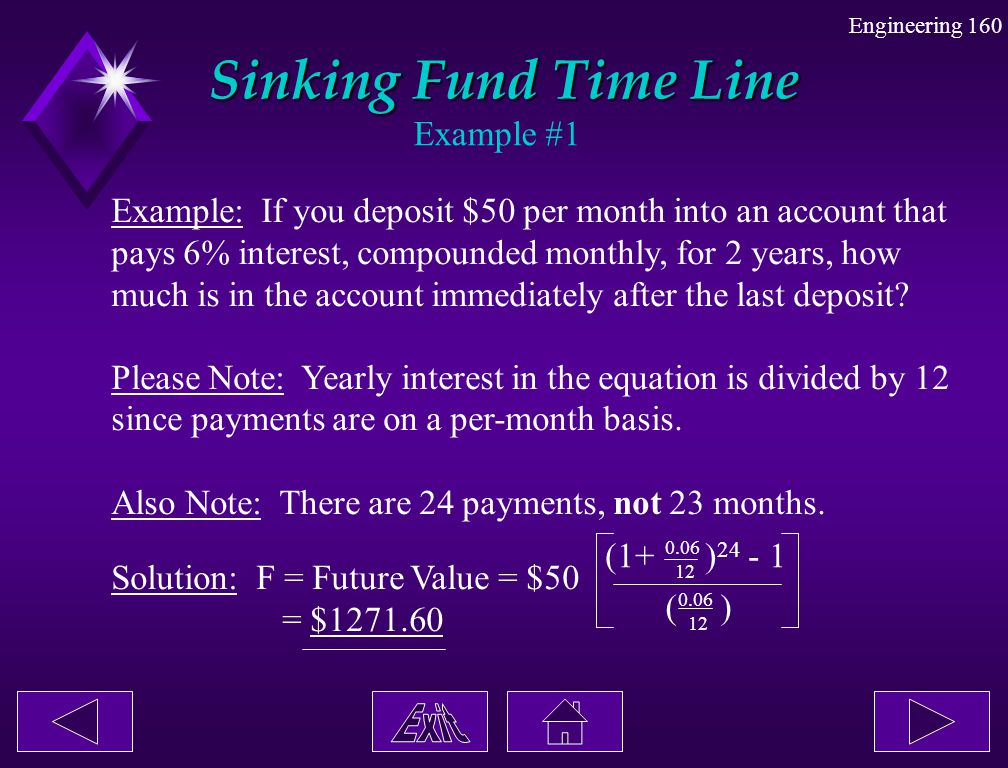 Engineering 160 Sinking Fund Time Line Example #1 Example: If you deposit $50 per month into an account that pays 6% interest, compounded monthly, for