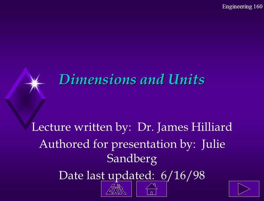 Dimensions and Units Lecture written by: Dr. James Hilliard Authored for presentation by: Julie Sandberg Date last updated: 6/16/98